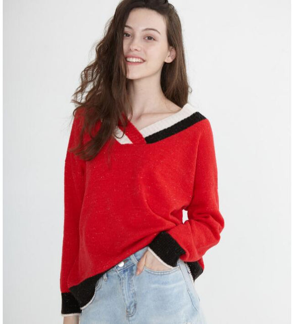 Mid-Length V Neck loose Women Tops Woolen Long Knit Sweater