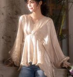 Loose Silk Women Shirts Tops Lantern Sleeve Spring Women blouseJJ961707