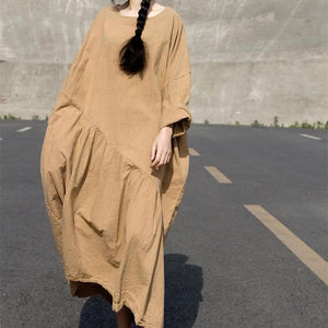 Loose fitting Linen Women Dresses 3/4 Sleeves CH90423