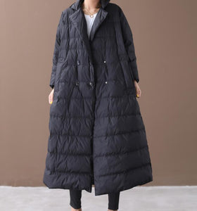 Long Loose Plus size Side Pockets Turn Down Collar Down Jacket Women Down Coats
