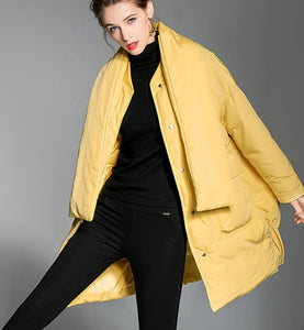 Casual-Loose-Women-Down-Coat-Scarf-Winter-Loose-90%-Duck-Down-Jackets