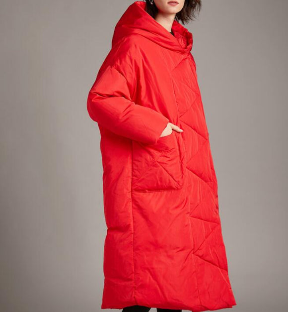 Long Loose Plus size Hooded Down Jacket Women Down Coats