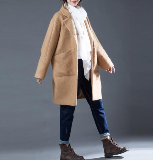 Khaki Women Coat Handmade Bat Sleeve loose Women Wool Coat Jacket