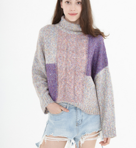 High Collar loose Women Tops Woolen Bat Sleeve Knit Sweater