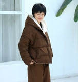 Reversible Hooded Cotton Winter Down Jacket Women Down Coats