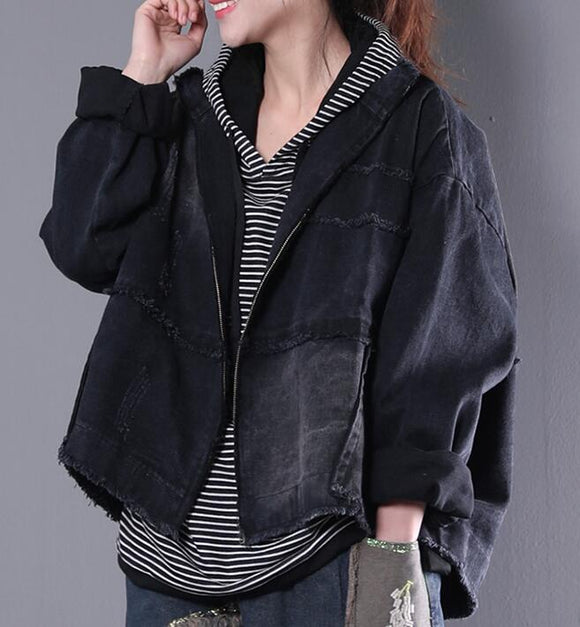 Washed Denim Women Spring Casual Coat Loose Hooded Parka Plus Size Short Coat Jacket