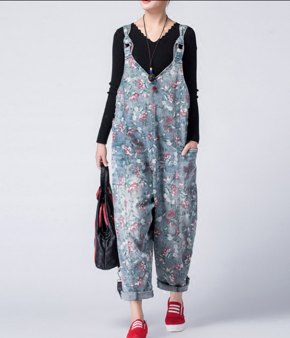 Casual Spring Summer Denim Overall Loose  Women Jumpsuits