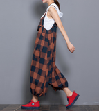 Denim Casual Spring Denim Overall Plaid Women Jumpsuits