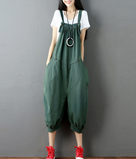 Casual Spring Summer Cotton Overall Loose  Women Jumpsuits