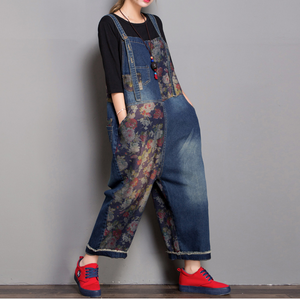 Floral Loose Handmade Denim Casual Spring Denim Overall Women Jumpsuits