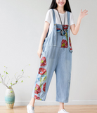 Floral Loose Denim Casual Spring Denim Overall Women Jumpsuits