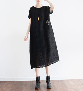 Black-Loose-Fitting-Linen-Women-Dresses-Summer-Casual-Embroidery-Women-Dresses