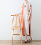 Women Loose Fitting Linen Dresses Khaki And Orange Summer Casual Irregular Women Dresses  AMT96215