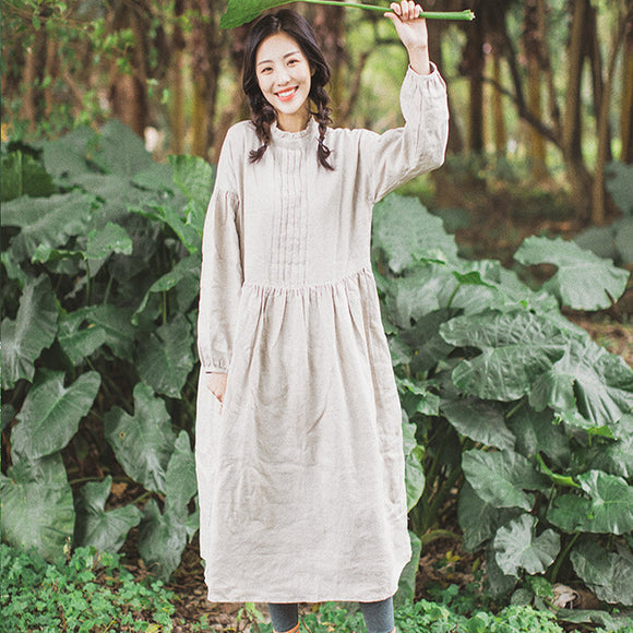 Puff linen Dress Summer Casual Midi Women Linen Dresses Pleated Dress ZF98409