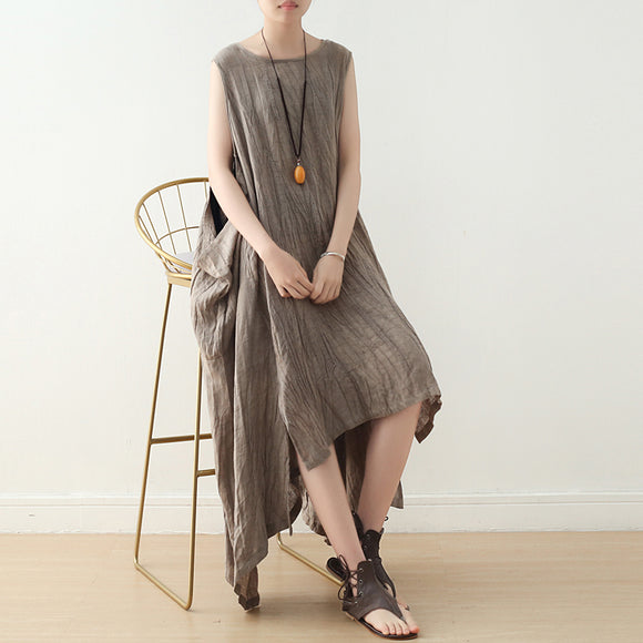 Khaki-Linen-Cotton-Women-Dresses-Loose-Fitting-Irregular-Dresses-Summer-Casual-sleeveless-Women-Dresses