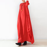 Red Sleeve Loose Drape Maxi Women Dresses AMT962213