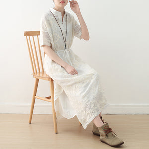 White Casual Linen Cotton Women Loose Fitting Short Sleeves Dresses Summer Long Women Dresses  AMT962227