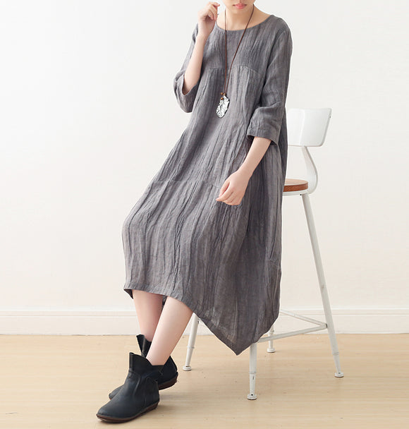 Crinkle casual summer Women Dresses Irregular long women dresses AMT96234