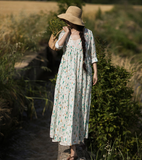 Floral Long Loose Linen Spring Summer Dresses YJ0424