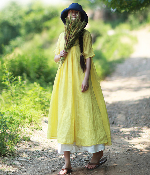 Yellow Long Loose Summer Cotton Linen Spring Women Dresses