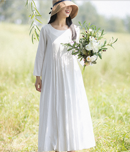 White Summer Cotton Linen Spring Women Dresses
