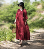 Red Long Loose Summer Cotton V Neck  Spring Summer Dresses YJ0424
