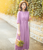 Purple Summer Cotton Linen Spring Women Dresses QJ05077