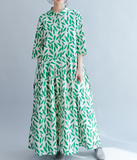 Green Leaf Summer Cotton Linen Spring Women Dresses Loose Style QZ200532