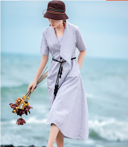 Maxi Women Dresses Linen Dresses Short Sleeves Summer Long Women Dresses XH960123