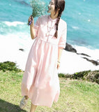 Pink Summer Linen Women Dresses Short Sleeves Women Dresses XH9665