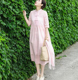 Linen Women Dresses 3/4 Sleeves O Neck Dresses Spring Summer Women Dresses XH9659