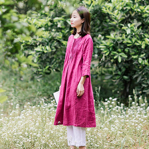 simplelinenlife-linen-V-neck-summer-spring-women-dresses-waist-belt