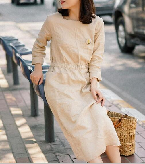 Long Sleeve Linen Dresses U Neck Spring Summer Khaki Women Dresses XH9657