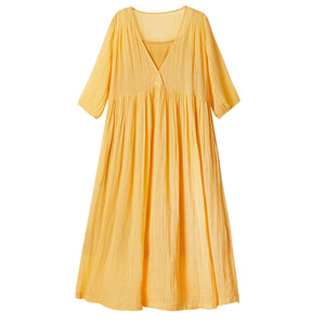 Yellow Linen Summer Women Short Sleeves Dresses  Long Women Dresses  AMT962234