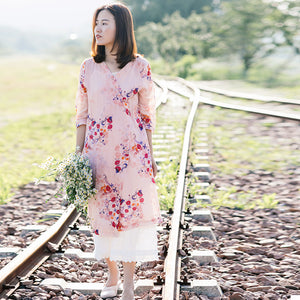 Floral Linen Women Dresses 3/4 Sleeves V Neck Spring Summer Women Dresses XH9669