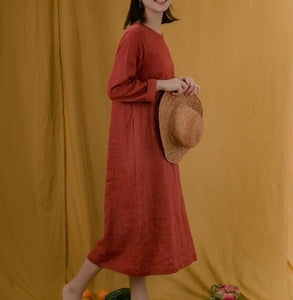 Red Linen Women Dresses Long Sleeves U Neck Spring Summer Women Dresses XH9671
