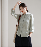 Women Casual Blouse Linen Shirts Loose Blouse Plus Size Women Tops