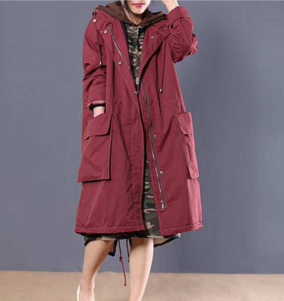Zipper Long Women Casual Coat Loose Hooded Parka Plus Size Coat Jacket