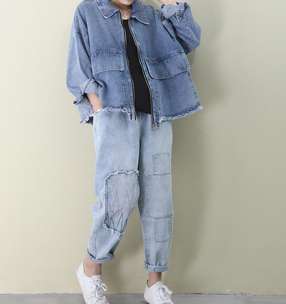 Denim Loose Short Casual Coat A line Parka Plus Size Coat Jacket