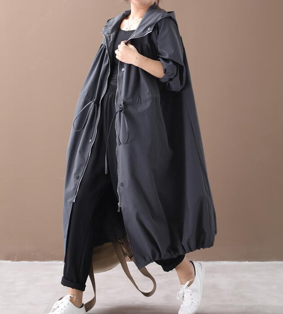 Loose Spring Women Casual Coat Hooded Trench Coat Plus Size Coat Jacket