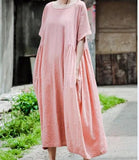 O-neck-women-linen-cotton-dresses-pleated-waist