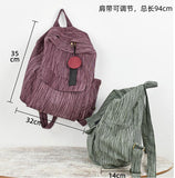Striped Linen Casual Large Backpack Women Travel Bag Shoulder Bag