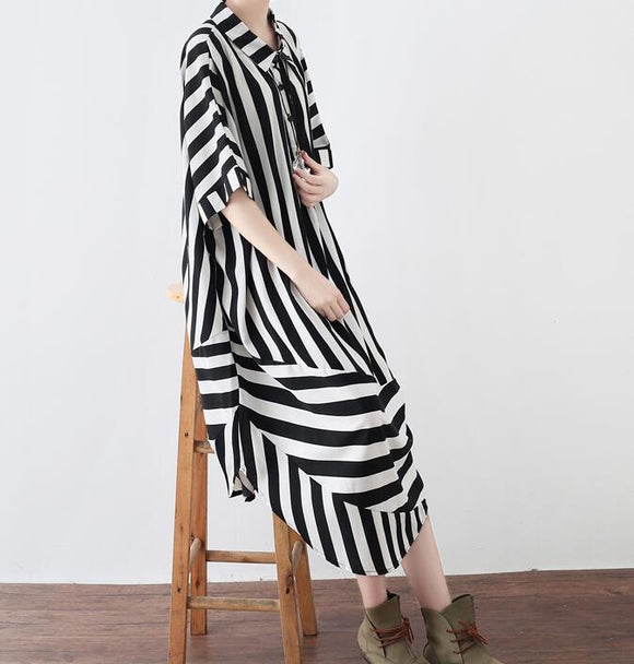 Striped Spring Cotton Loose Long Dresses Plus Size AMT962328