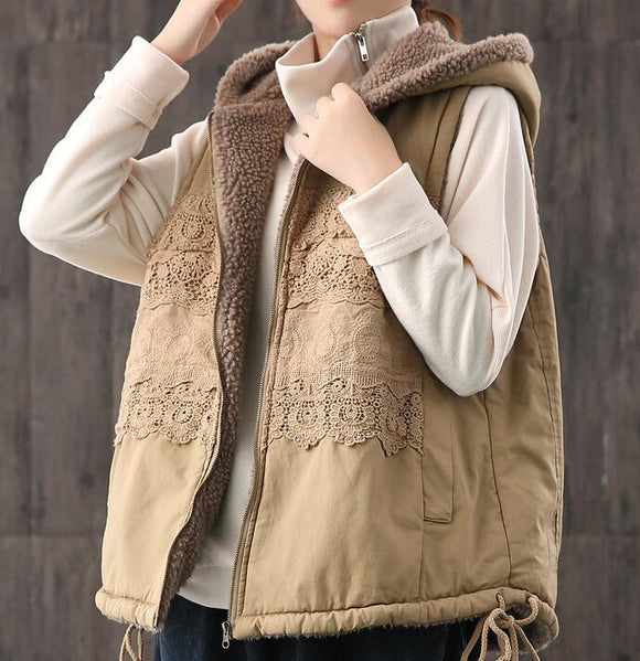 Fleece Vest Lace Trim Casual Coat Loose Hooded  Plus Size Coat Jacket