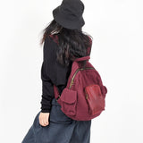 Red Leather Canvas Simple Style Women Backpack Shoulder Bag