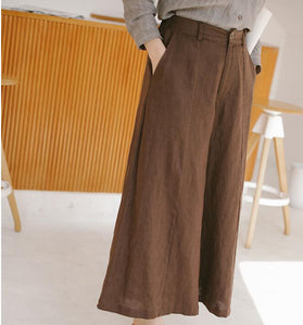 Coffee Linen Wide Leg Women Casual Pants SJ97235