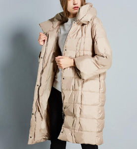 Winter Loose Duck Down Jackets Hooded Warm Women Long Down Coat