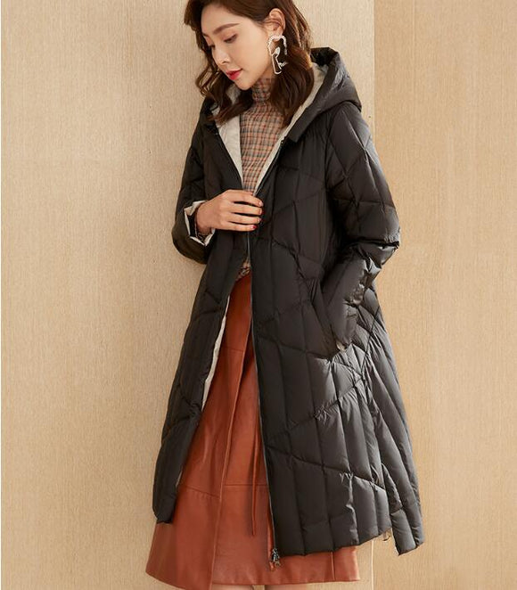 Short Front Long Winter Duck Down Jacket Hooded Down Jacket Women Coat