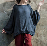 Women Summer Silk Cotton Tops Puff  Sleeves Blouse Loose Style H9508
