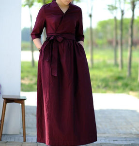Waist Belt Cotton Half Sleeve Dress Long Women Dress SJP9201229